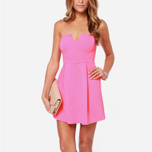 Lulu's A New Affair Strapless Dress Hot Pink